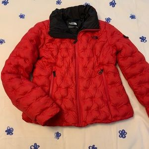 Red Quilted North Face Coat